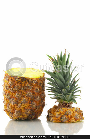Cuttet Pineapple stock photo, Fruit opened, isolated on white background by Matthias Krapp