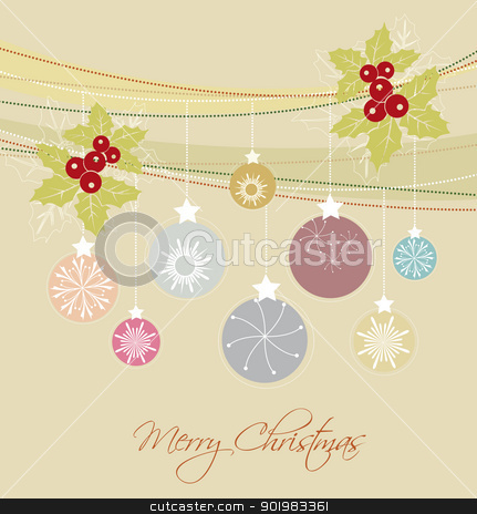 Christmas balls stock vector clipart, color background with Christmas balls by Miroslava Hlavacova