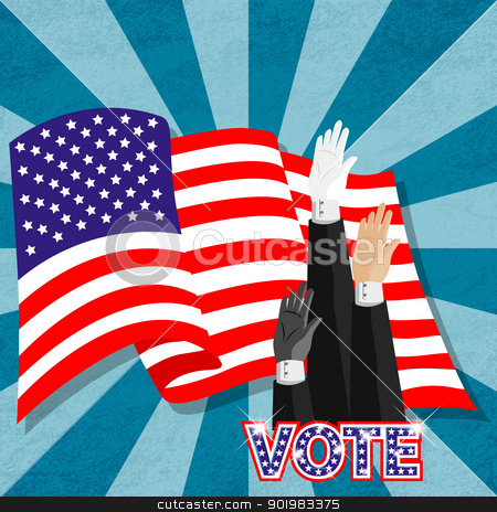Hand-up election vote for american president stock photo, Electronic voting (also known as e-voting) is a term encompassing several different types of voting, embracing both electronic means of casting a vote and electronic means of counting votes. by Sailom