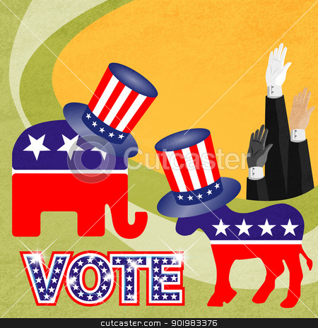 Party logo with american hat stock photo, Electronic voting (also known as e-voting) is a term encompassing several different types of voting, embracing both electronic means of casting a vote and electronic means of counting votes. by Sailom