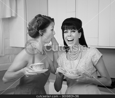 Woman Whispers Joke  stock photo, Caucasian woman whispers joke to friend in her kitchen by Scott Griessel