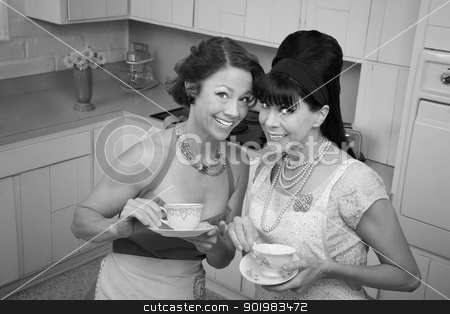 Two Women Gossiping stock photo, Two middle-aged housewives with tea in a kitchen by Scott Griessel
