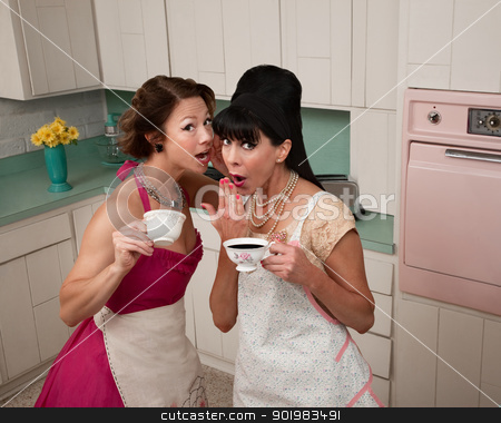 Women Gosipping stock photo, Two middle-aged retro styled women gosipping while having coffee by Scott Griessel