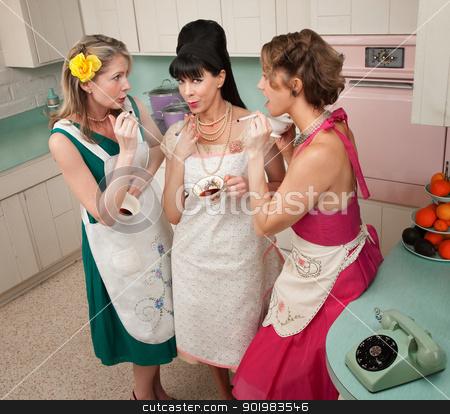 Women Smoking Cigarette stock photo, Three retro-styled women smoking cigarettes in a kitchen by Scott Griessel