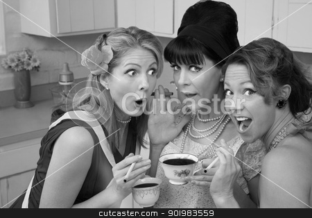 Shocked Women stock photo, Three shocked women smoking and having coffee  by Scott Griessel