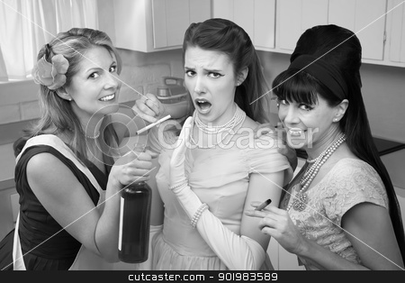 Shocked Woman With Her Friends  stock photo, Young woman with her friends smoking and drinking in the kitchen by Scott Griessel