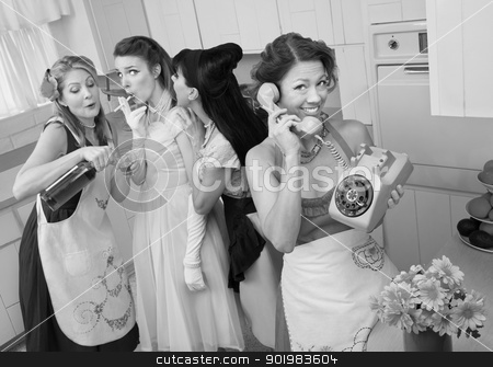 Group Of Retro Housewives stock photo, Woman on phone while friends give young woman cigarette and alcohol in a retro styled kitchen scene by Scott Griessel
