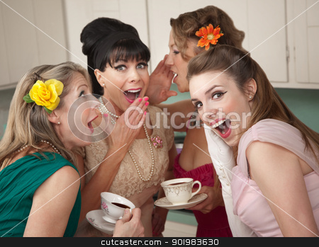Woman Whispering Secret  stock photo, Group of four retro fashion housewives tell secrets in the kitchen by Scott Griessel