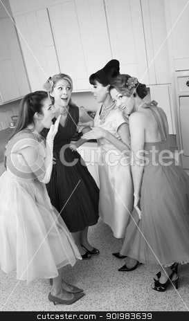 Women Gossips stock photo, Group of four retro-styled women gossip in a kitchen  by Scott Griessel