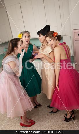 Women Gossips stock photo, Group of four retro-styled women gossip in a kitchen  by Scott Griessel