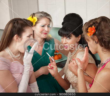 Women Gossiping in Kitchen stock photo, Four Caucasian women gossiping in a kitchen  by Scott Griessel