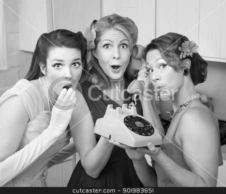 Three Retro Women stock photo, Three pretty women in kitchen with telephone by Scott Griessel