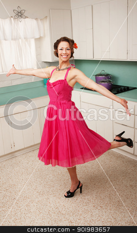 Woman Dancing  stock photo, Middle aged Caucasian woman dances in a kitchen by Scott Griessel