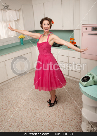 Happy Woman stock photo, Happy Caucasian woman in a retro styled kitchen scene by Scott Griessel