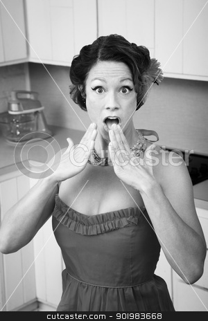 Shocked Woman stock photo, Shocked middle-aged woman in kitchen with hands by her mouth by Scott Griessel