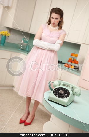 Woman Waiting By Telephone stock photo, Unhappy cute young woman bride waiting by telephone by Scott Griessel