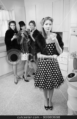 Women Enjoying A Drink stock photo, Four women smoking and drinking in a retro-style kitchen scene by Scott Griessel