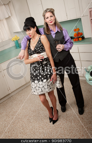 Women Drinking Together stock photo, Two middle-aged women enjoy a cigar and a drink by Scott Griessel