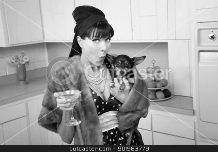 Woman Holds a Chihuahua stock photo, Retro-styled woman holds a Chihuahua dog and martini  by Scott Griessel