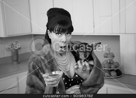 Woman Holding Chihuahua Dog stock photo, Retro styled Caucasian woman holding Chihuahua dog and martini by Scott Griessel