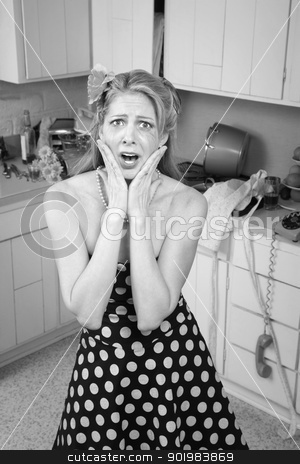 Shocked Woman stock photo, Shocked Caucasian woman in messy retro-style kitchen with hands on face  by Scott Griessel