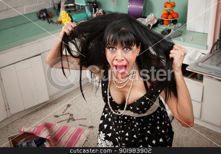 Frustrated Woman stock photo, Desperate housewife pulling her hair in a messy kitchen by Scott Griessel