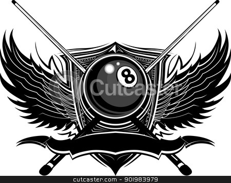 Billiards Eight Ball with Ornate Wings Vector Illustration