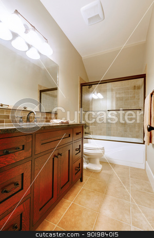 Nice bathroom with wood luxury cabinet. stock photo, Nice bathroom with wood luxury cabinet and ceramic tile.  by iriana88w