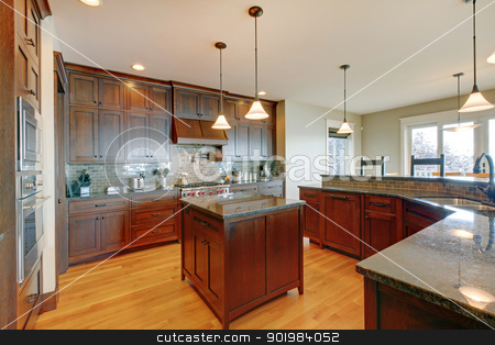 Luxury pine wood beautiful custom kitchen interior design. stock photo, Luxury pine wood beautiful custom kitchen interior design with island and granite. by iriana88w
