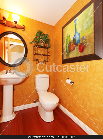 Orange bathroom with large painting. stock photo, Orange small bathroom with large painting. by iriana88w