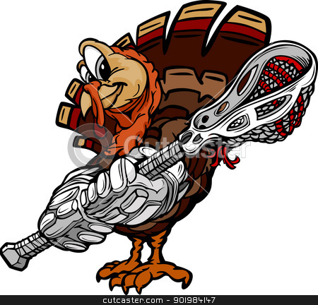 Lacrosse Thanksgiving Holiday Turkey Cartoon Vector Illustration stock vector clipart, Cartoon Vector Image of a Thanksgiving Holiday Lacrosse Turkey with Lacrosse Stick and Gloves by chromaco