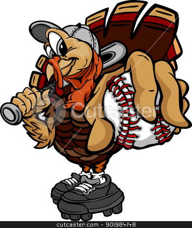 Baseball or Softball Thanksgiving Holiday Turkey Cartoon Vector  stock vector clipart, Cartoon Vector Image of a Thanksgiving Holiday Baseball or Softball Turkey Holding a Baseball Ball and a Bat by chromaco