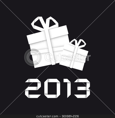 Origami christmas gift stock vector clipart, Origami christmas gift, new year card, black background by kurkalukas