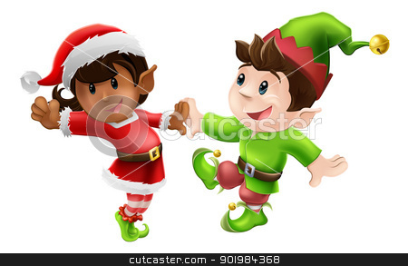 Christmas Elves Dancing stock vector clipart, Two happy Christmas elves enjoying a Christmas dance in Santa outfit and elf clothes by Christos Georghiou
