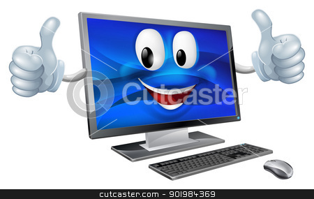 Desktop computer mascot stock vector clipart, A cute happy cartoon computer mascot character smiling and doing a thumbs up by Christos Georghiou