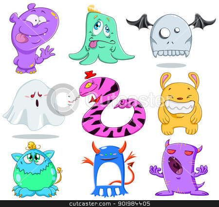 Halloween Monsters Pack 2 stock vector clipart, A vector illustration of cute funny and scary monsters for Halloween. by Liron Peer