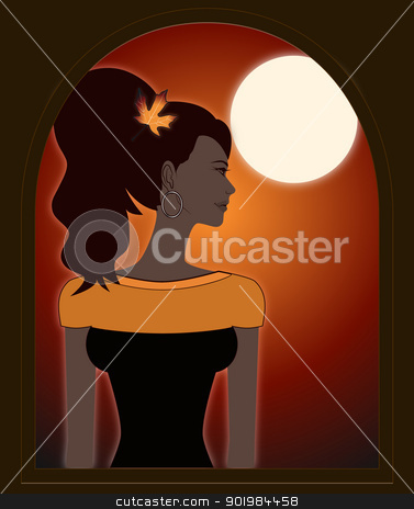Autumn Girl stock vector clipart, An illustration of a young woman dressed in the colors of autumn  by Elsyann