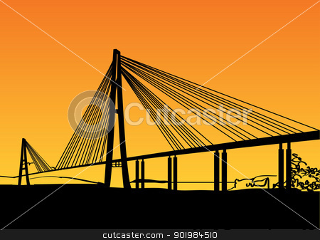 Modern bridge stock photo, Modern bridge fragment: black against bright orange. Vector illustration. by Kotkoa
