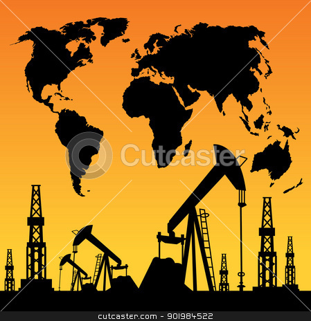 Map and oil rig stock photo, White World Map, Oil rig and oil pump. by Kotkoa
