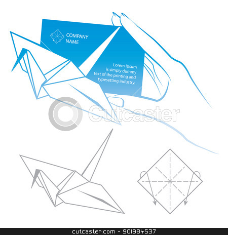 Origami symbolic stock photo, Paper Card, Origami symbolic bird vector illustration. by Kotkoa