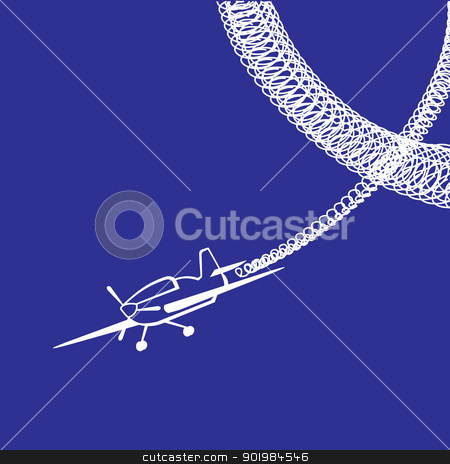 Plane over blue stock photo, Plane with white rounded track over blue background. Vector illustration. by Kotkoa