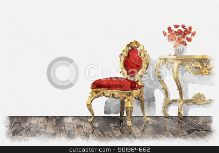 baroque room painting stock photo, An image of a beautiful baroque room painting background by Markus Gann