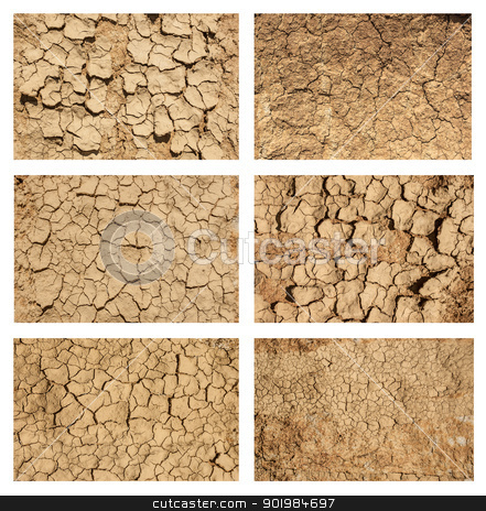 ground textures set stock photo, Six examples of cracked and desiccated ground, ground textures set by Kotkoa