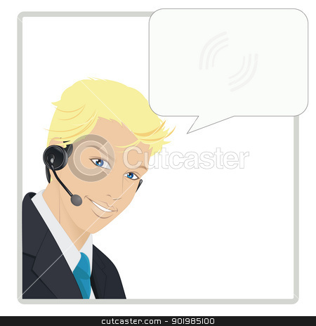 Hotliner stock vector clipart, An illustration of man working with a headset by Elsyann