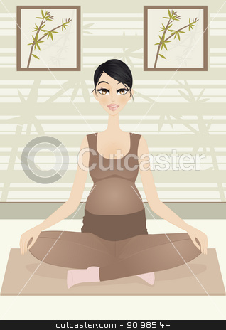Pregnant woman in yoga pose stock vector clipart, An illustration of pregnant woman looking for relaxation with yoga    by Elsyann