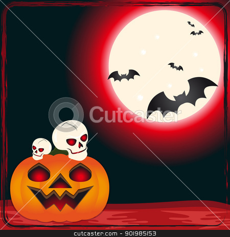 Skulls and pumpkin stock vector clipart, An illustration of skulls on pumpkin for the day of Halloween by Elsyann
