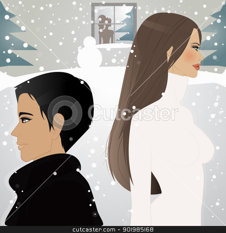Under the snow stock vector clipart, An illustration of beautiful woman and man walking under the snow  by Elsyann