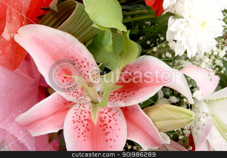 Bouquet with pink lily stock photo, Bouquet with pink lily. Close-up. Studio photography. by Andrey Khritin
