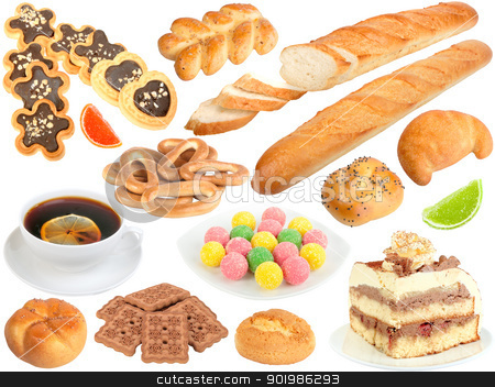 Set of fresh bread and sweets stock photo, Set of fresh bread and sweets. Isolated on white background. Close-up. Studio photography. by Andrey Khritin