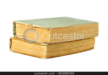 Two old closed books stock photo, Two old closed books. Isolated on white background. Close-up. Studio photography. by Andrey Khritin
